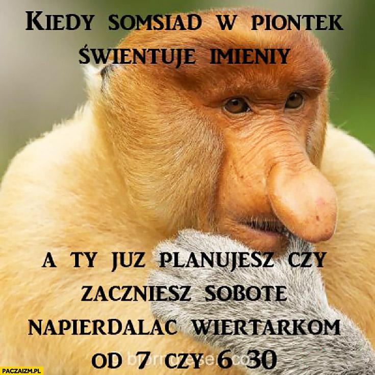 Kiedy sąsiad w piątek świętuje imieniny a Ty już planujesz czy zaczniesz w sobotę napierdzielać wiertarką od 7 czy od 6:30 typowy Polak nosacz małpa