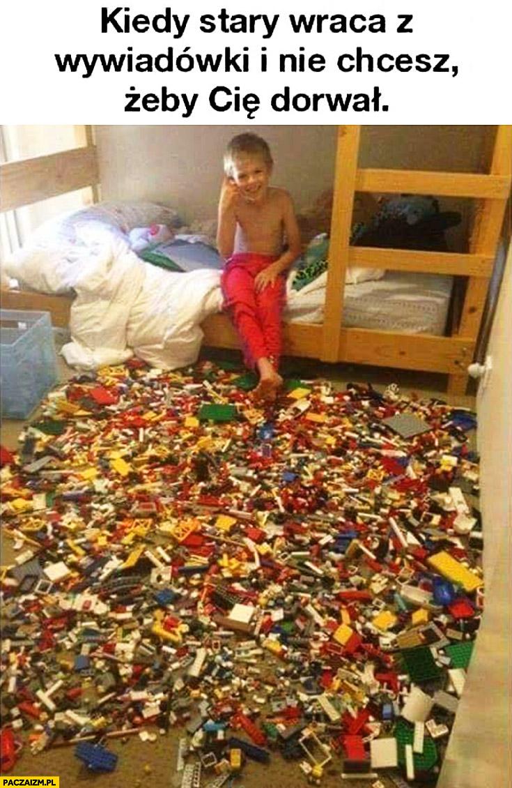 Kiedy stary wraca z wywiadówki i nie chcesz żeby Cię dorwał dzieciak rozsypał klocki LEGO