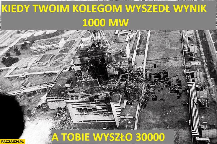Kiedy Twoim kolegom wyszedł wynik 1000mw a Tobie wyszło 30000mw katastrofa wybuch elektrowni atomowej jądrowej w Czarnobylu