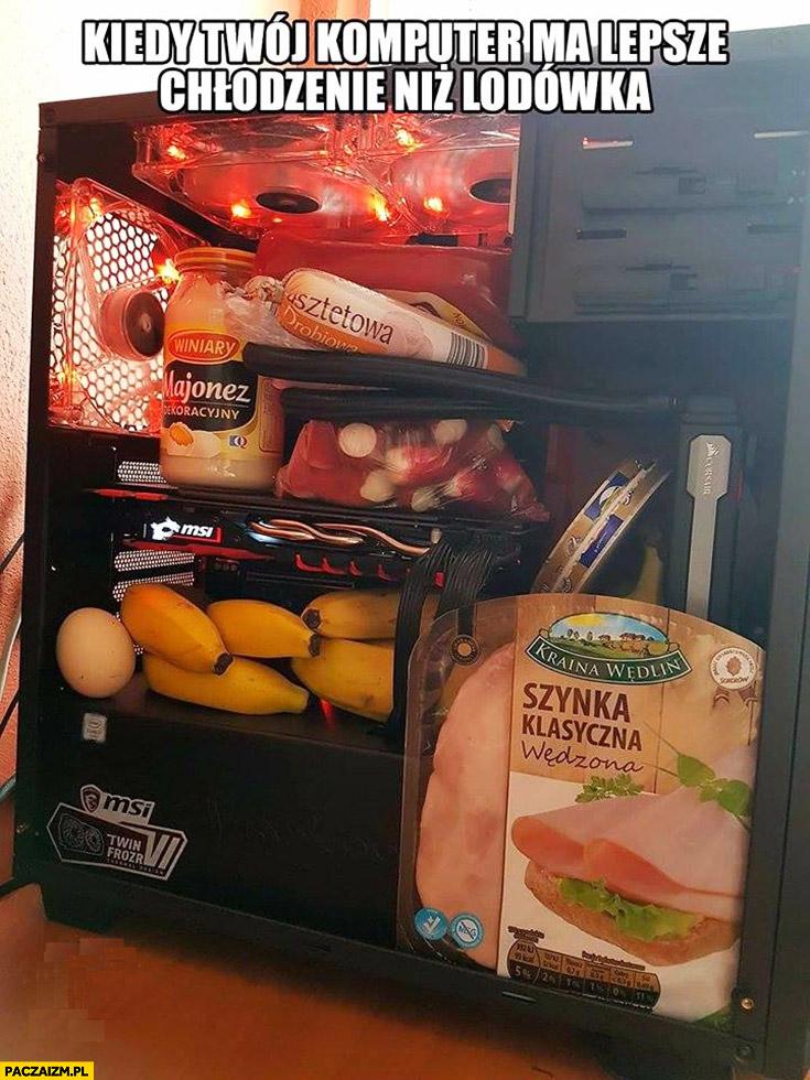 Kiedy Twój komputer ma lepsze chłodzenie niż lodówka jedzenie w obudowie