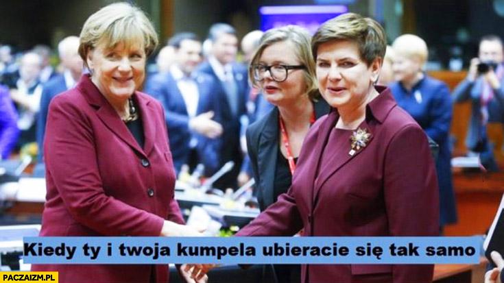 Kiedy Ty i Twoja kumpela ubieracie się tak samo Merkel Szydło bordowy purpurowy strój kostium