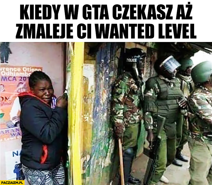 Kiedy w GTA czekasz aż zmaleje Ci wanted level murzyn czarny chowa się przed policja wojskiem
