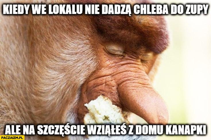 Kiedy w lokalu nie dadzą chleba do zupy ale na szczęście wziąłeś z domu kanapki typowy Polak nosacz małpa