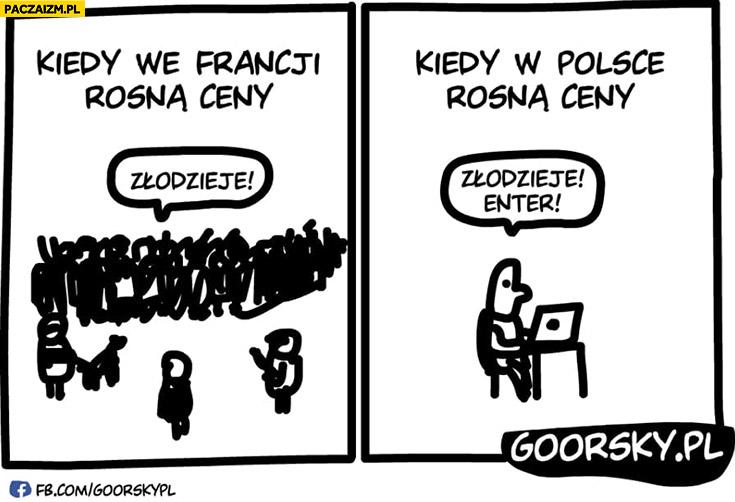 Kiedy we Francji rosną ceny protest na ulicach, kiedy w Polsce rosną ceny protest przed komputerem Goorsky