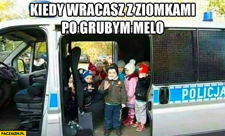 Kiedy wracasz z ziomkami po grubym melo dzieci w wozie policyjnym