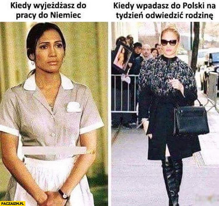 Kiedy wyjeżdżasz do pracy do Niemiec vs kiedy wpadasz do Polski na tydzień odwiedzić rodzinę jLo Jennifer Lopez