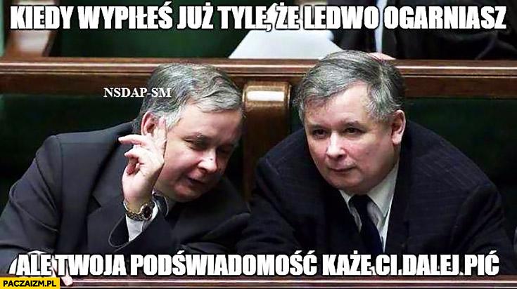 Kiedy wypiłeś już tyle, że ledwo ogarniasz, ale Twoja podświadomość każe Ci dalej pić Lech Jarosław Kaczynski