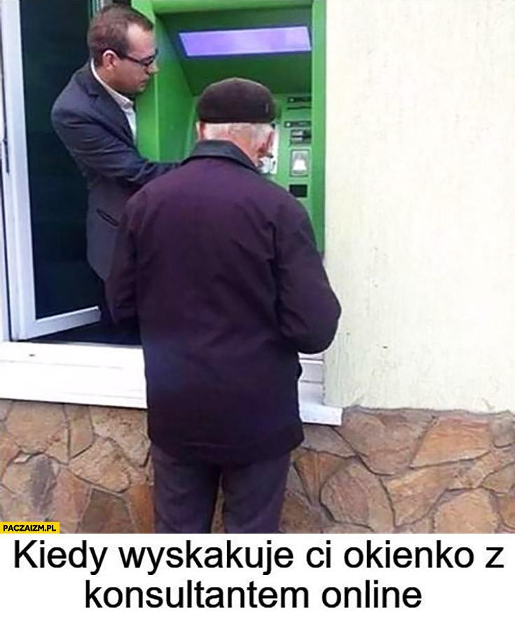 Kiedy wyskakuje Ci okienko z konsultantem online bankomat