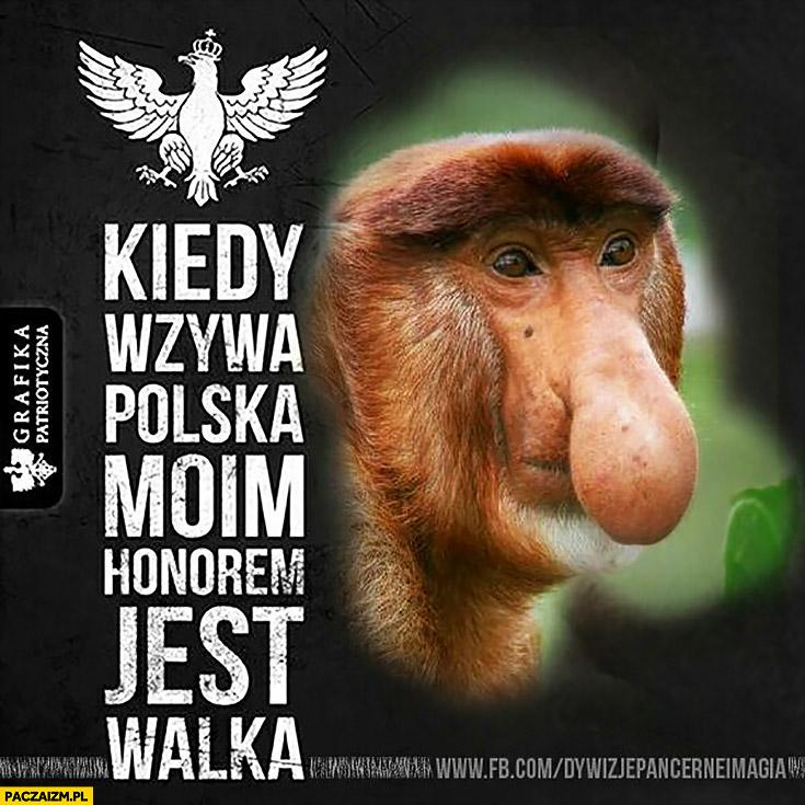 Kiedy wzywa Polska moim honorem jest walka typowy Polak nosacz małpa