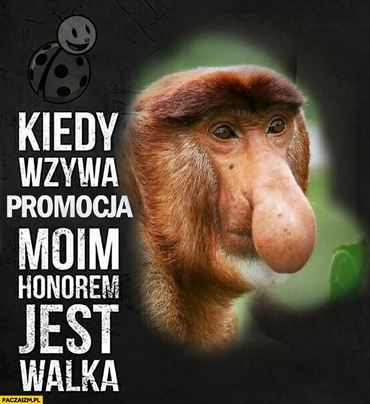Kiedy wzywa promocja moim honorem jest walka typowy Polak nosacz małpa Biedronka