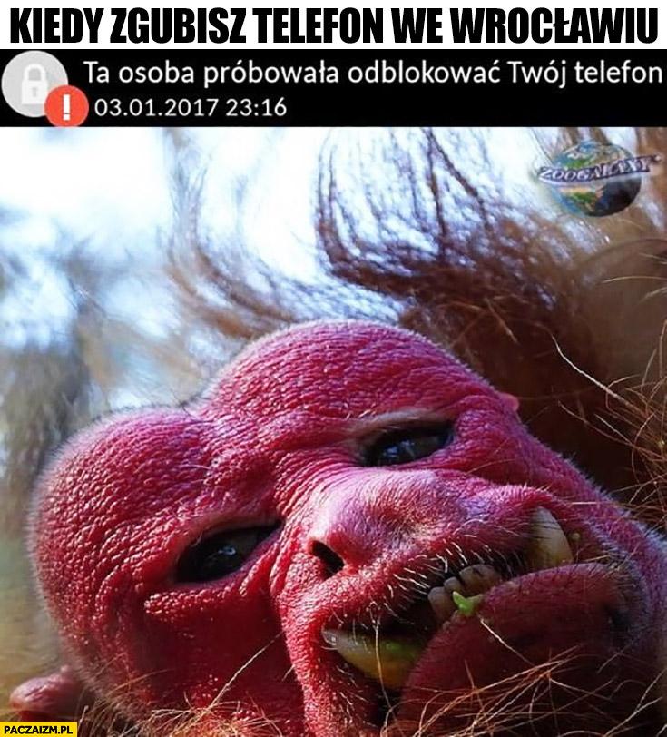 Kiedy zgubisz telefon we Wrocławiu małpa Ukrainiec ta osoba próbowała odblokować Twój telefon