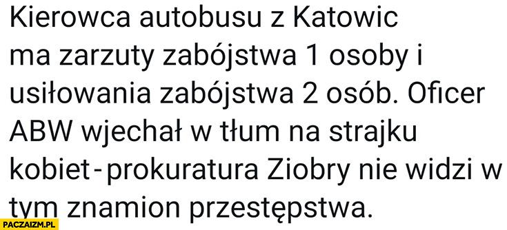 Kierowca autobusu z Katowic ma zarzuty oficer ABW wjechał w tłum prokuratura Ziobry nie widzi w tym znamion przestępstwa