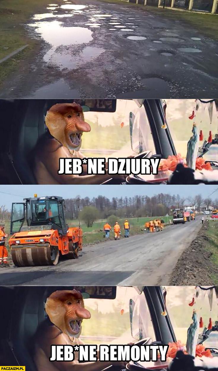 Kierowca TIRowiec jechane dziury, jechane remonty typowy Polak nosacz małpa