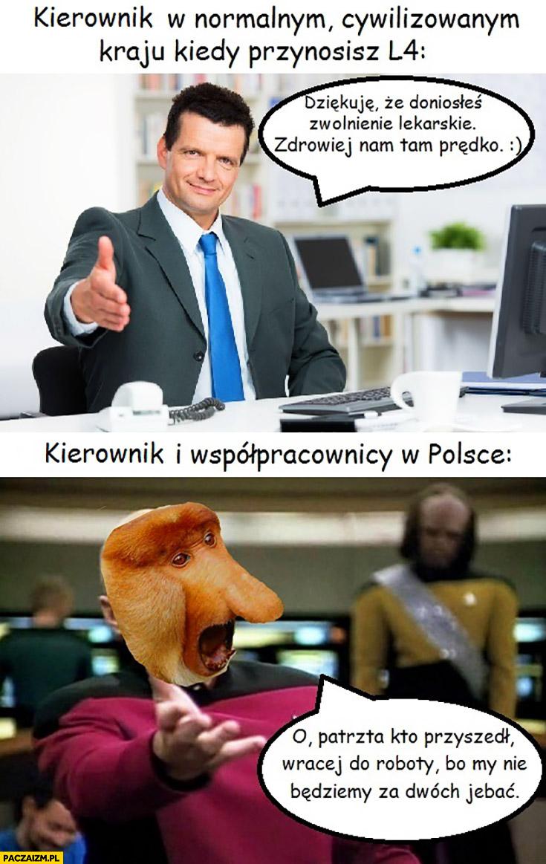 Kierownik w normalnym cywilizowanym kraju kiedy przynosisz L4 vs kierownik i współpracownicy w Polsce o patrzta kto przyszedł wracaj do roboty typowy Polak nosacz małpa