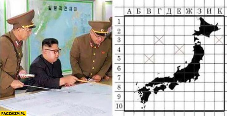 Kim Jong Un Korea Północna gra w statki okręty Japonia