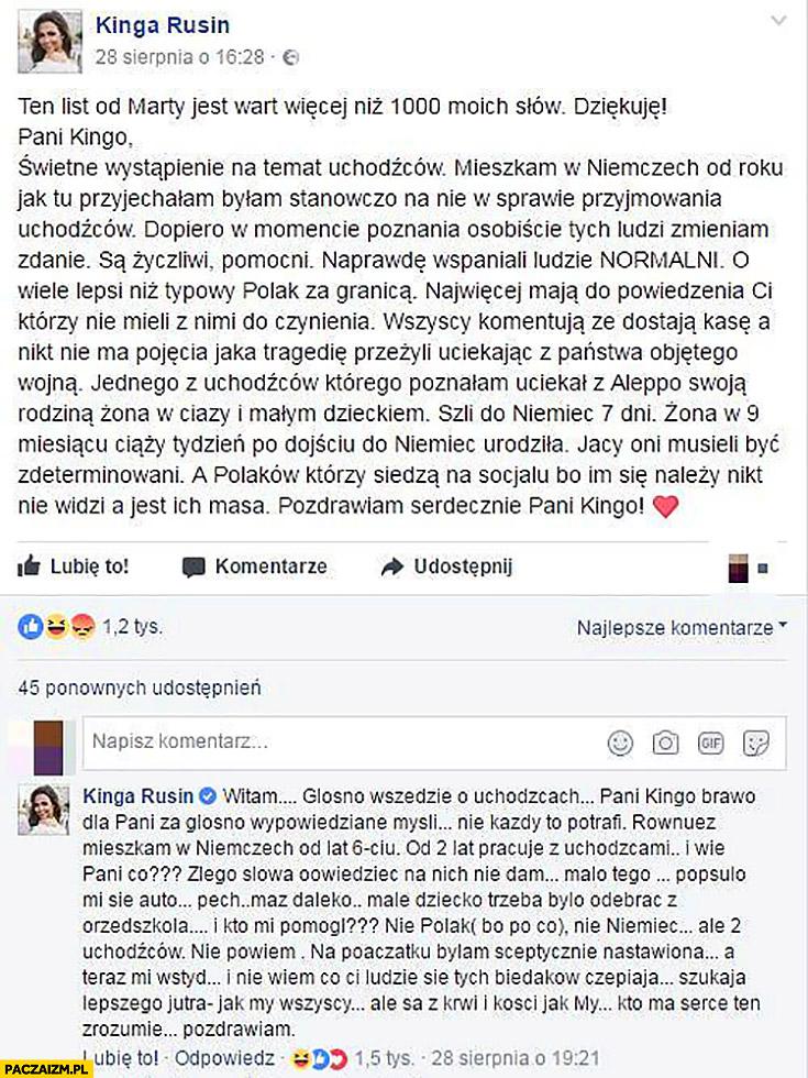Kinga Rusin o uchodźcach na facebooku odpowiada na własny post zapomniała się wylogować zmienić konto