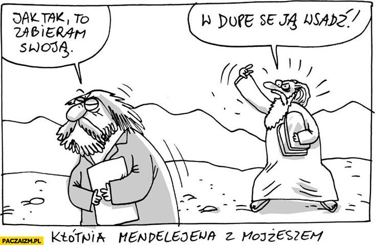 Kłótnia Mendelejewa z Mojżeszem tablice jak tak to zabieram swoja w dupę se ją wsadź Wilq