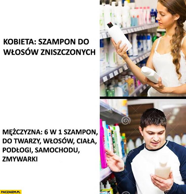 Kobieta kupuje szampon do włosów zniszczonych mężczyzna 6 w 1 szampon do twarzy włosów, ciała, podłogi, samochodu, zmywarki