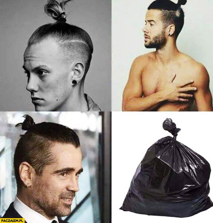 Koczek man bun fryzura męska jak worek na śmieci