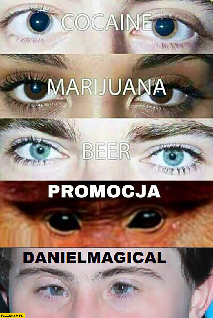 Kokaina, marihuana, piwo, promocja, Daniel Magical Maciek z Klanu oczy porównanie