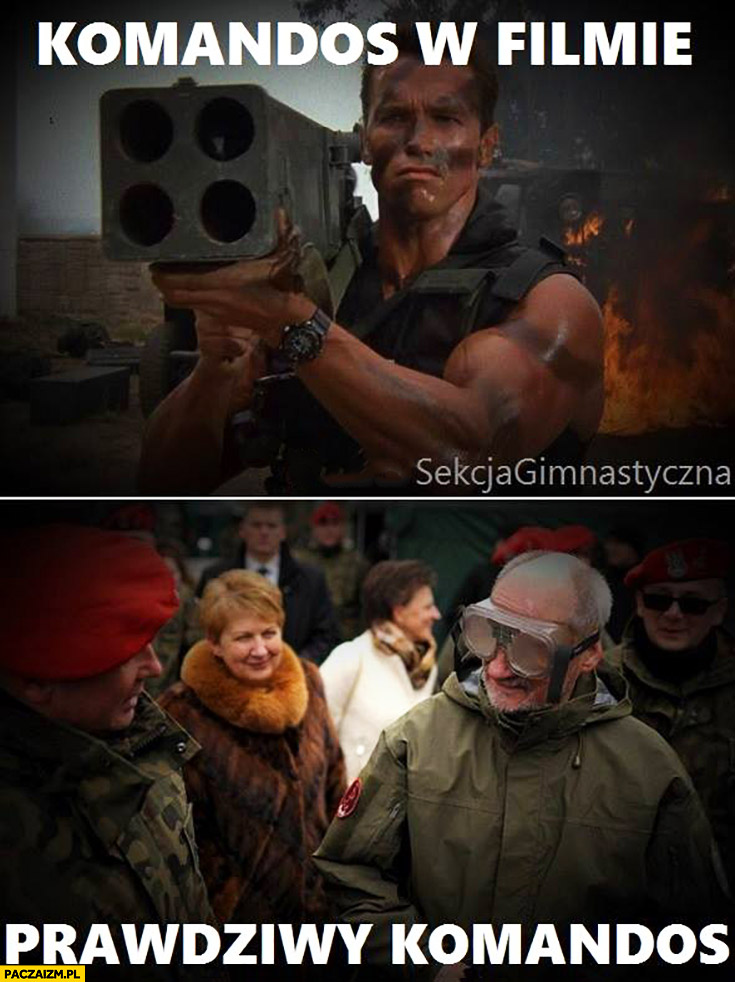 Komandos w filmie Arnold Schwarzenegger vs prawdziwy komandos Macierewicz w goglach okularach