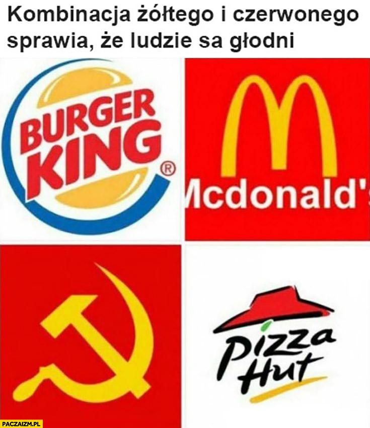 Kombinacja żółtego i czerwonego sprawia, że ludzie są głodni. Burger King, McDonald's, Pizza Hut, komunizm sierp i młot