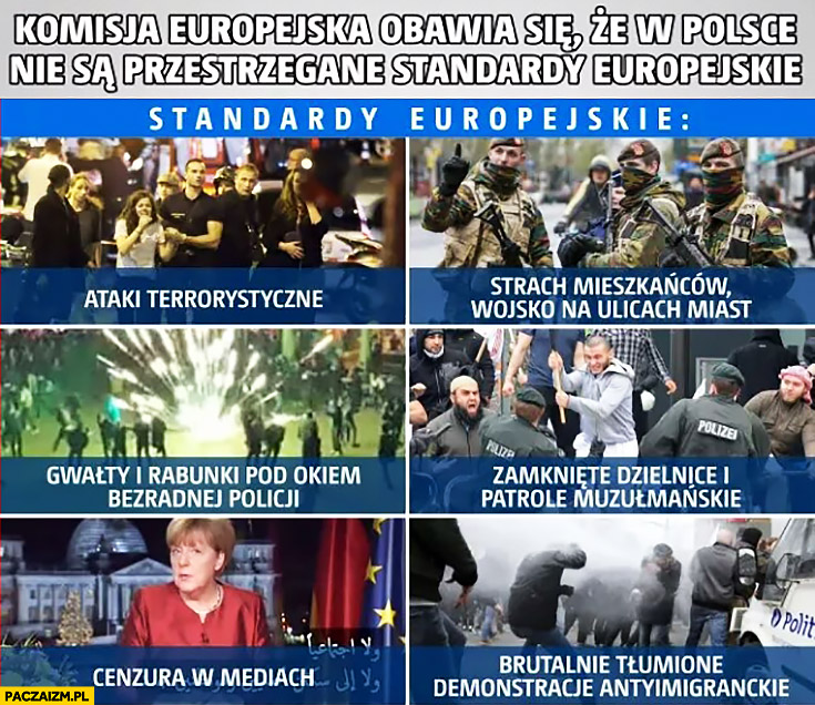 Komisja Europejska obawia się, że w Polsce nie są przestrzegane standardy europejskie: ataki terrorystyczne, cenzura, gwałty, rabunki