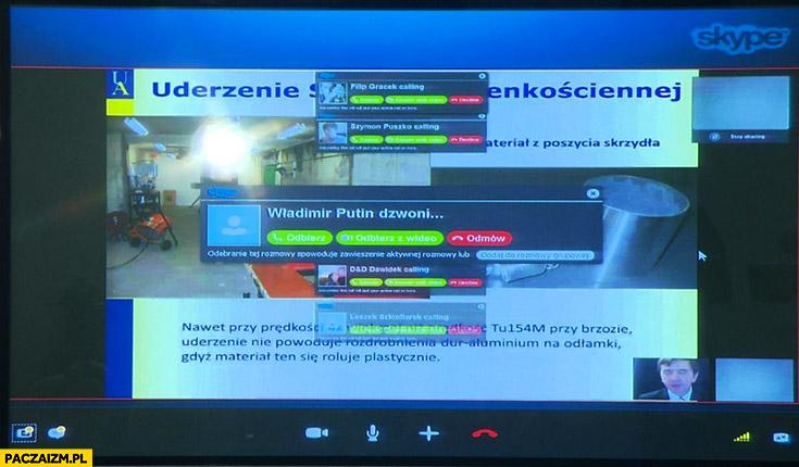Komisja Smoleńska Władimir Putin dzwoni Skype Macierewicz