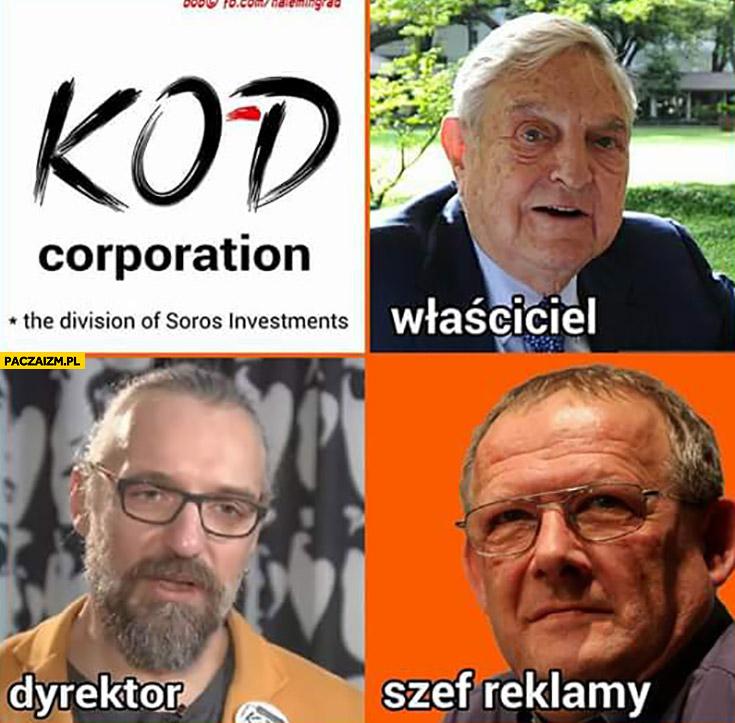 Komitet Obrony Demokracji właściciel Soros, dyrektor Kijowski, szef reklamy Michnik