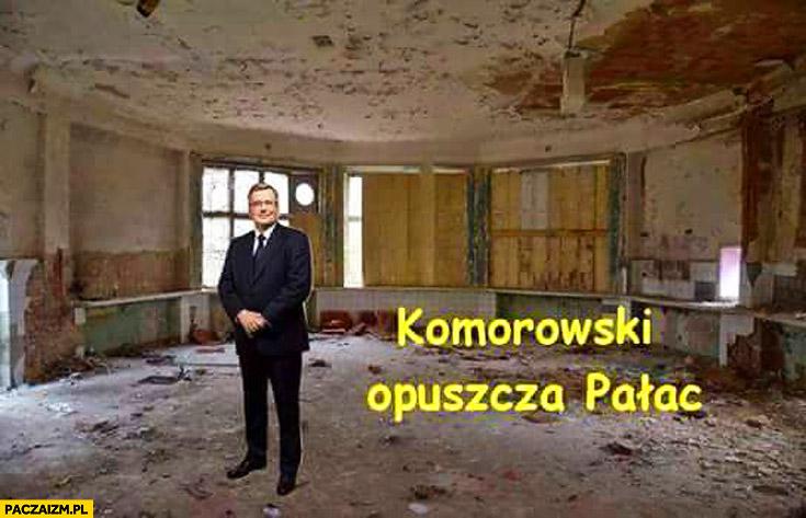 Komorowski opuszcza pałac prezydencki ruiny
