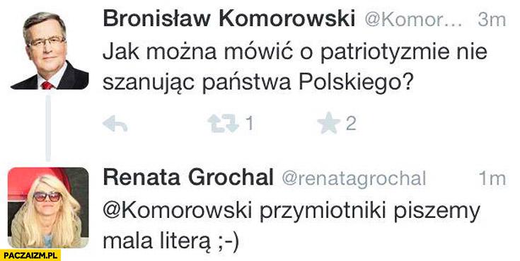 Komorowski Państwo Polskie przymiotniki piszemy małą litera