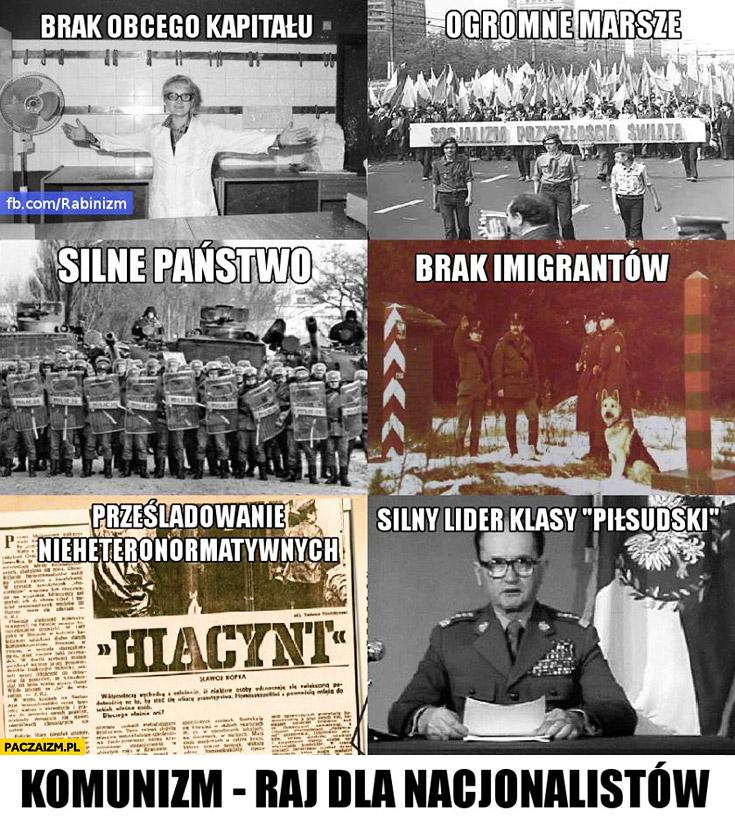 Komunizm raj dla nacjonalistów: silny lider, silne państwo, ogromne marsze, brak imigrantów, brak obcego kapitału