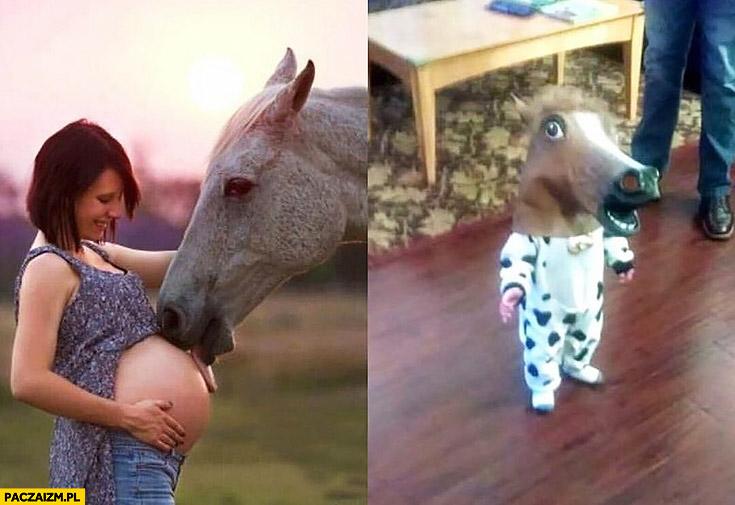 Koń całuje liże brzuch kobiety w ciąży dziecko z głową konia maska