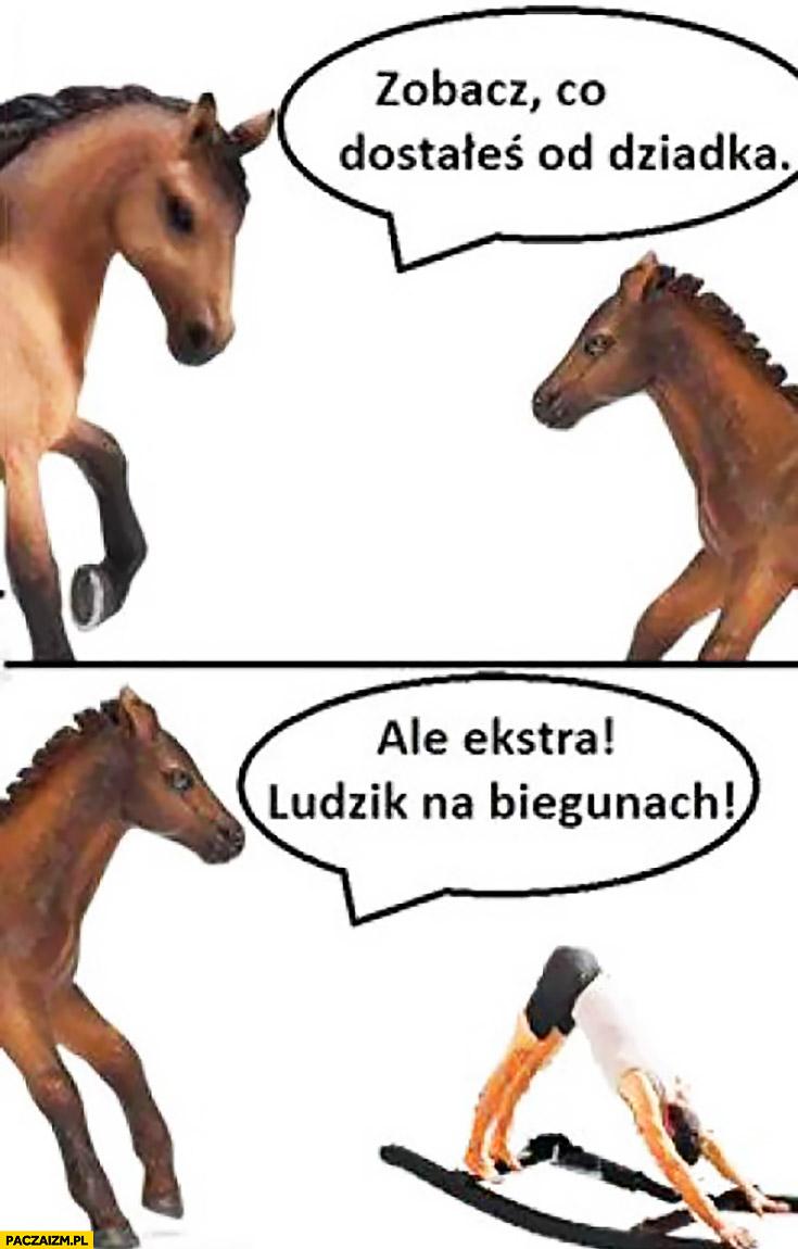 Koń na biegunach zobacz co dostałeś od dziadka, ale ekstra ludzik na biegunach