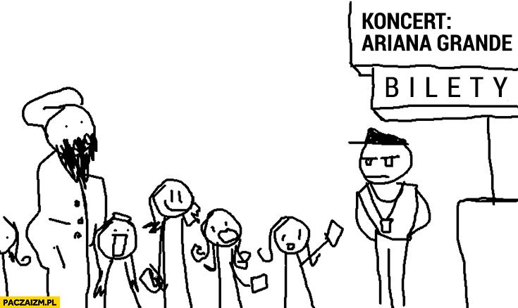 Koncert Ariana Grande muzułmanin wśród dzieci fanek czeka stoi w kolejce