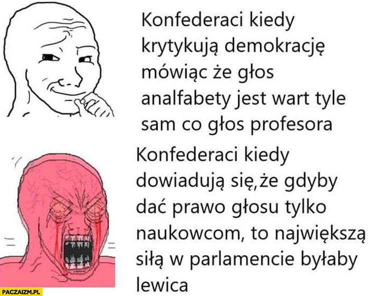 Konfederaci mówiący, że w demokracji głos analfabety jest wart tyle co głos profesora vs kiedy dowiadują się, że naukowcy głosowaliby na lewice