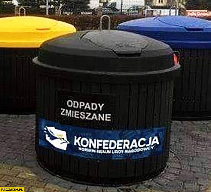 Konfederacja pojemnik odpady zmieszane śmietnik kosz naklejka