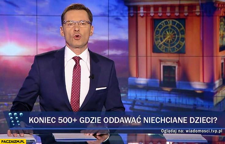 Koniec programu 500+ plus, gdzie oddawać niechciane dzieci pasek Wiadomości TVP