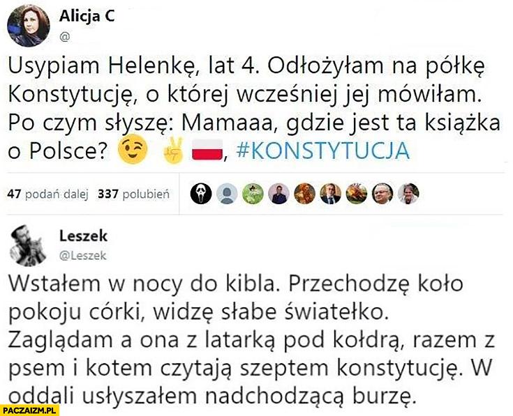 Konstytucja mama gdzie jest ta książka o Polsce? Czytała konstytucję szeptem z latarką pod kołdrą twitter