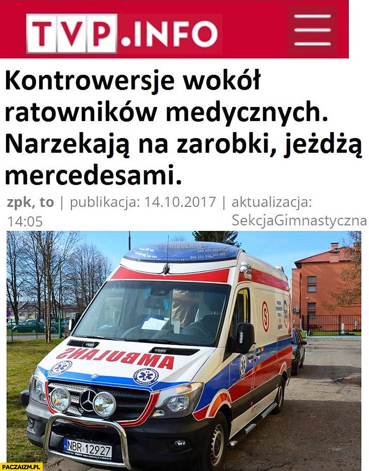 Kontrowersje wokół ratowników medycznych narzekają na zarobki, jeżdżą Mercedesami TVP Info artykuł tytuł nagłówek