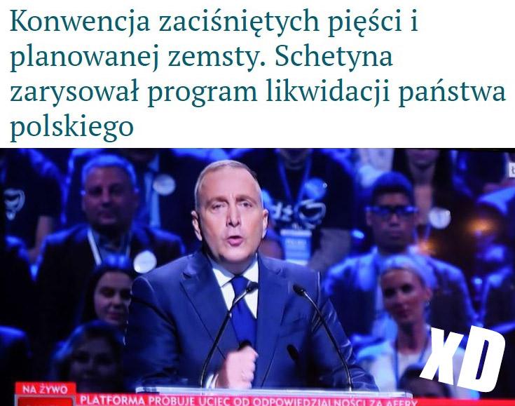 Konwencja zaciśniętych pięści i planowanej zemsty Schetyna zarysował program likwidacji państwa polskiego nagłówek wPolityce.pl