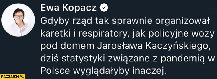 Kopacz gdyby rząd tak sprawnie organizował karetki i respiratory co policyjne wozy pod domem Kaczyńskiego statystyki pandemii wyglądałyby inaczej