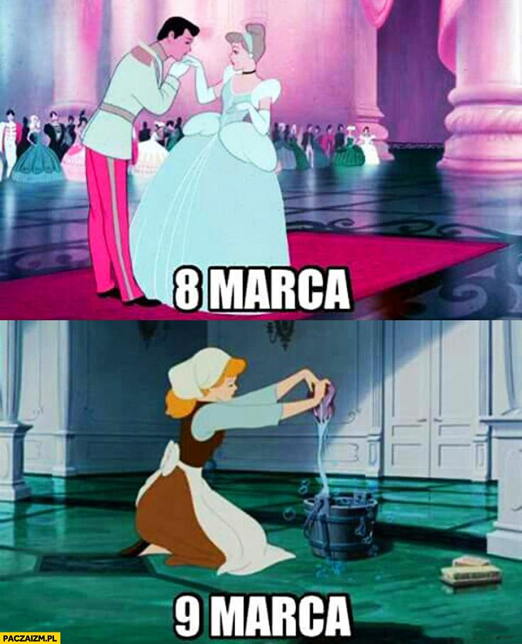 Kopciuszek 8 marca na balu, 9 marca mycie podłogi dzień kobiet