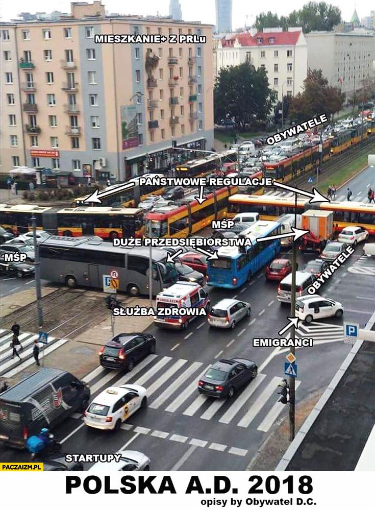 Korek na skrzyżowaniu w Warszawie jak Polska w 2018 nie do rozwiązania autobusy tramwaje
