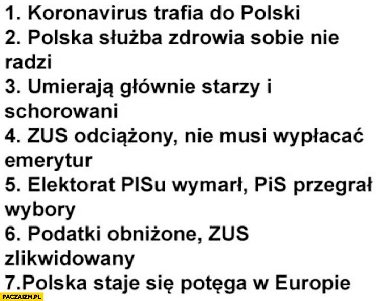Koronawirus trafia do Polski, służba zdrowia sobie nie radzi, umierają starzy, ZUS odciążony, elektorat PiS wymarł, PiS przegrywa, Polska staje się potęgą