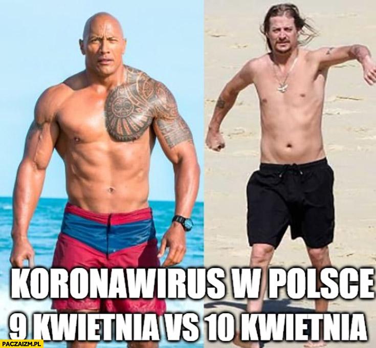 Koronawirus w Polsce 9 kwietnia vs 10 kwietnia porównanie the rock kid rock