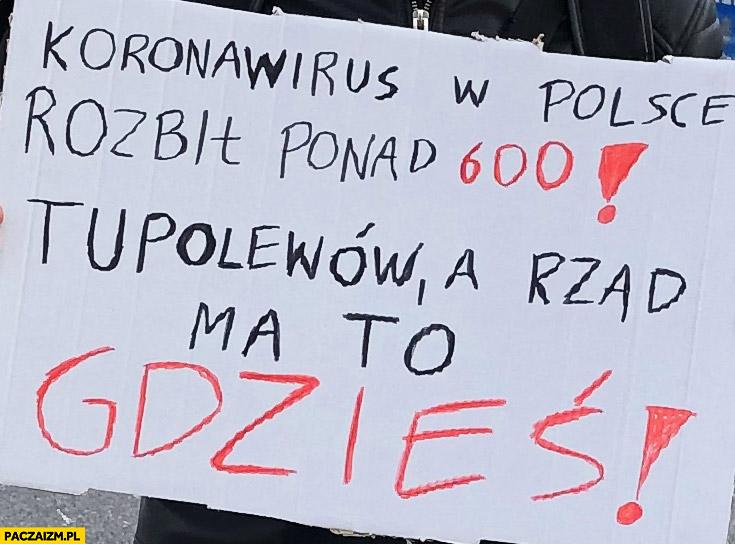 Koronawirus w Polsce rozbił ponad 600 Tupolewów a rząd ma to gdzieś