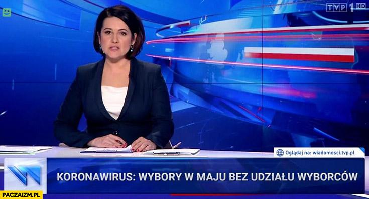 Koronawirus wybory w maju bez udziału wyborców pasek Wiadomości TVP