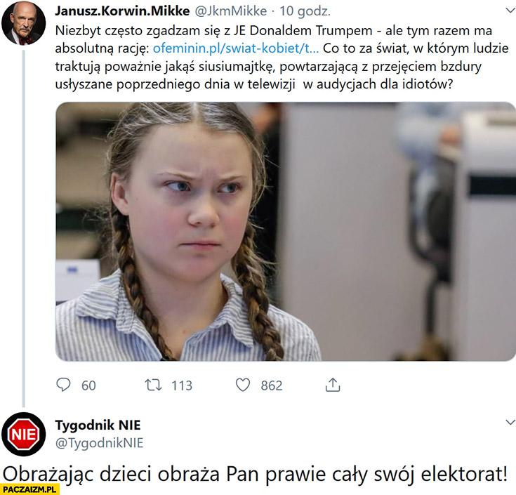 Korwin Greta Thunberg Tygodnik Nie obrażając dzieci obraza Pan prawie cały swój elektorat
