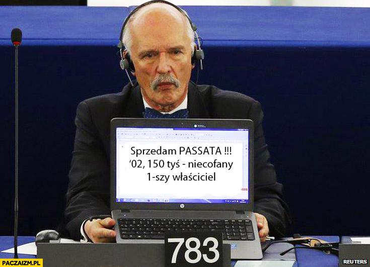 Korwin laptop sprzedam Passata Parlament Europejski